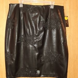 NWT Black leather skirt